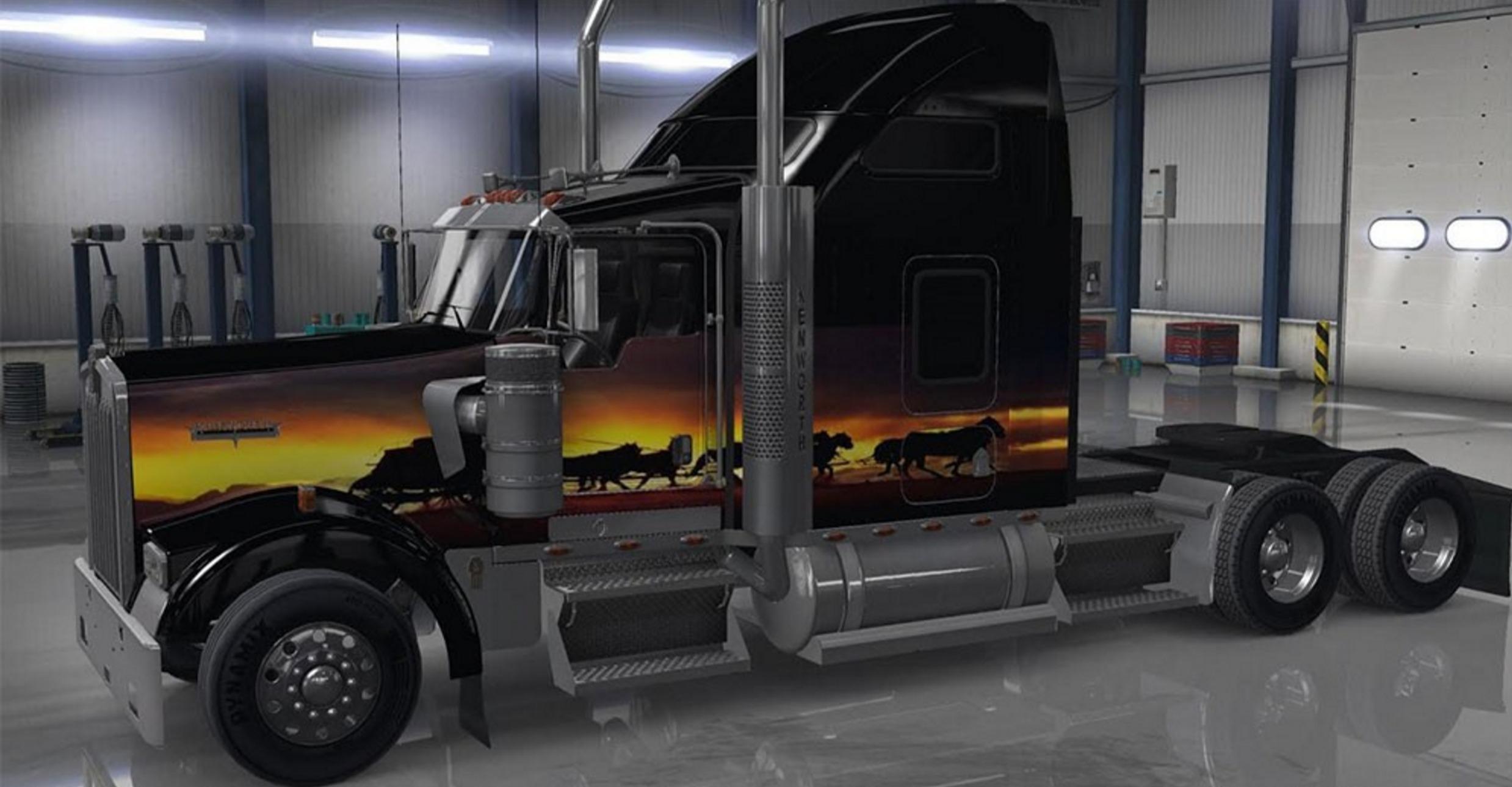 Kenworth w900 sunset skin american truck simulator mod for Howell s motor freight