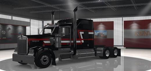 Kenworth W900 Custom Black, Red and White Skin