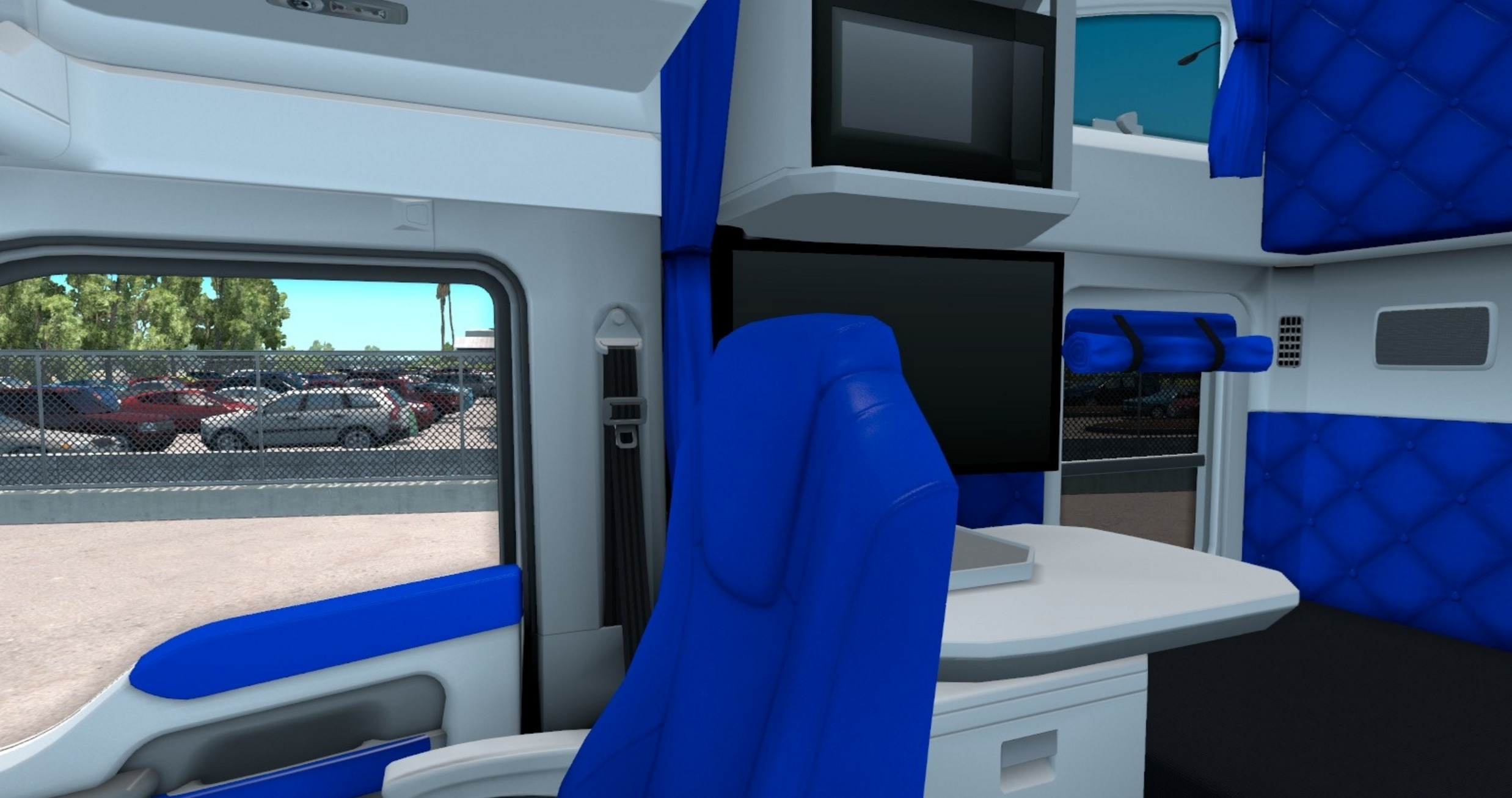 kenworth trucks interior. white and blue interior for kenworth t680 trucks e