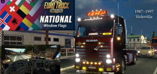 SCANIA 143M 1.24.X NATIONAL WINDOW FLAGS TRUCK