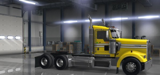 Smooth Yellow Truck Skin for Kenworth W900 (Day Cab only)  (3)