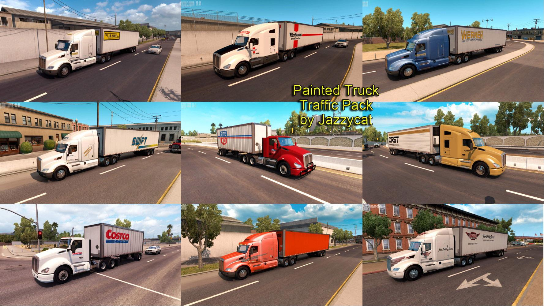 PAINTED TRUCK AND TRAILERS TRAFFIC PACK MOD BY JAZZYCAT V1 1